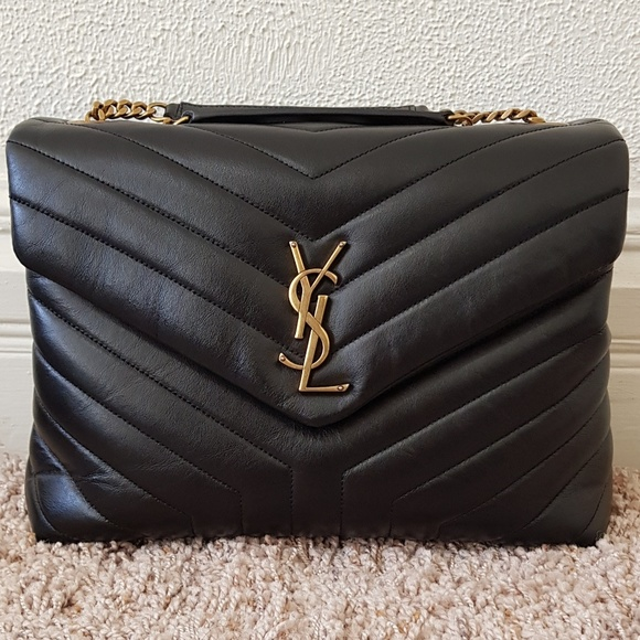 Saint Laurent Loulou Monogram Black Gold leather de479eb510f53